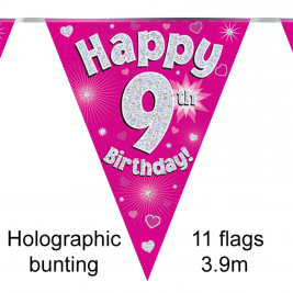 Happy 9th Birthday Pink Holographic Party Bunting 11 flags 3.9m