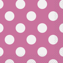 Pink Polka Dots  Beverage Napkins - Pack of 16