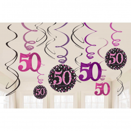 Pink Sparkling Celebration 50th Hanging Swirl Decorations