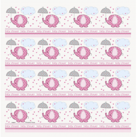 Umbrellaphants Pink Baby Shower GIFT WRAP ROLL 30