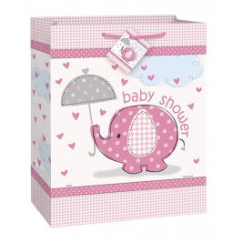 UMBRELLAPHANTS PINK Baby Shower LARGE GLOSSY GIFT BAG