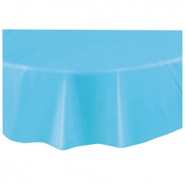 baby blue  ROUND PLASTIC TABLECOVERS 84