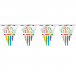 Rainbow Birthday Flag Banner 12ft