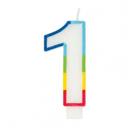 Rainbow Border Number 1 Birthday Candle