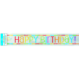 12ft Foil Rainbow Party Happy Birthday Banner