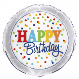 Rainbow Polka Dot Happy Birthday FOIL BALLOON 18