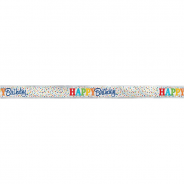 Rainbow Polka Dot Happy Birthday FOIL BANNER 12 FT.