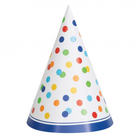 Rainbow Polka Dot Happy Birthday PARTY HATS - pack of 8