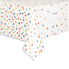 Rainbow Polka Dot Happy Birthday PLASTIC TABLECOVER 54