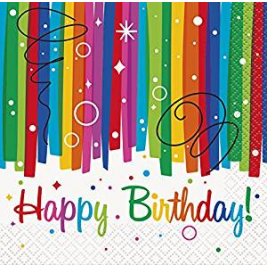 Rainbow Ribbons Happy BirthDay BEVERAGE NAPKINS - pack of 16