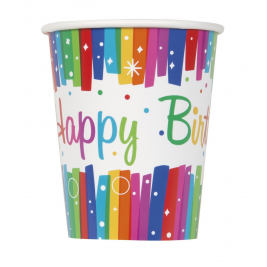 Rainbow Ribbons Happy BirthDay 9 OZ. CUPS - pack of 8