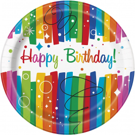 Rainbow Ribbons Happy BirthDay PLATES 9