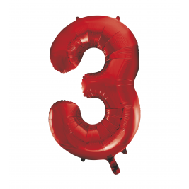 Number 3 Giant Red Foil Balloon 34 Inches