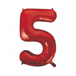 Number 5 Giant Red Foil Balloon 34 Inches