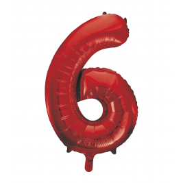 Number 6 Giant Red Foil Balloon 34 Inches