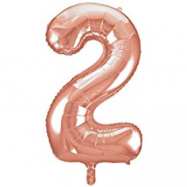 Number 2 Giant Rose Gold Foil Balloon 34 Inches