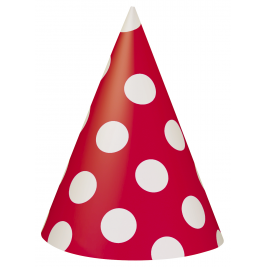 Red Polka Dot Party Hats- Pack of 8