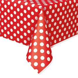 Red Polka Dot Plastic table cover  54