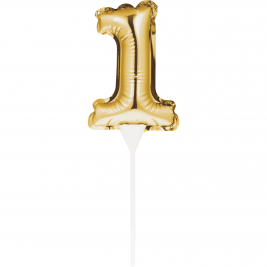 Self-Inflating Gold Mini Balloon Cake Topper - Number 1