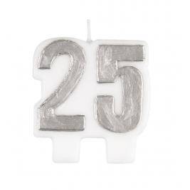BIRTHDAY CHEER NUMERAL CANDLE SILVER NUMBER 25
