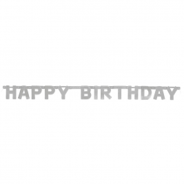 Silver Deluxe Happy Birthday Jointed Banner