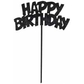 Silver Flashing Happy Birthday Cake Decoration