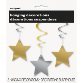 Silver & Gold Colour Star Hanging Swirl Decoration Stars