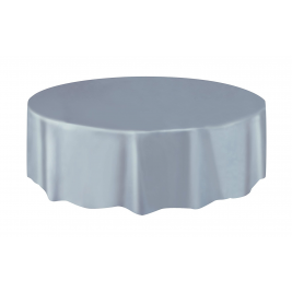 SILVER  ROUND PLASTIC TABLECOVERS 84