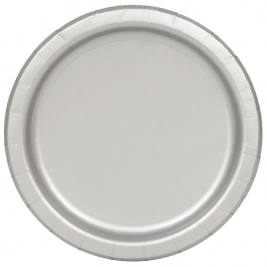 23cm Silver Party Plates, Pack of 25