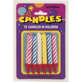 SPIRAL BIRTHDAY CANDLES IN HOLDERS ASSORTED COLOURS - pack of 12