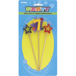 STAR BIRTHDAY CANDLES SET NUMBER 7