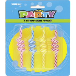 STRIPED COIL BIRTHDAY CANDLES ASSorted COLOURS - pack of 4