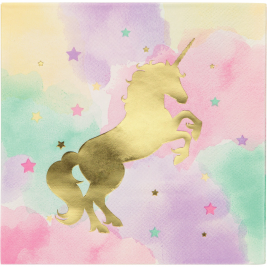 Unicorn Sparkle Foil Stamp Luncheon Napkin Pack of 16