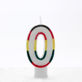 Number 0 Multicolored Birthday Candle