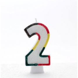 Pack of 6 Multi Coloured Number 2 Candle