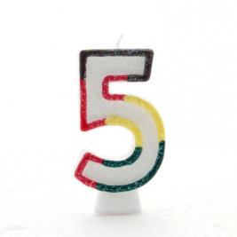 Pack of 6 Multi Coloured Number 5 Candle