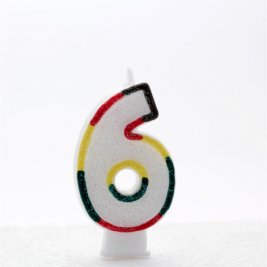 Pack of 6 Multi Coloured Number 6 Candle