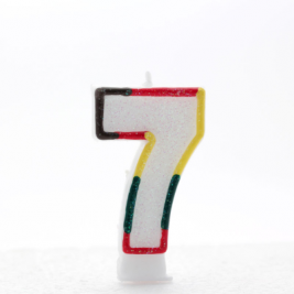 Number 7 Multi Colored Glitter Candle