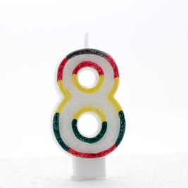 Pack of 6 Multi Coloured Number 8 Candle