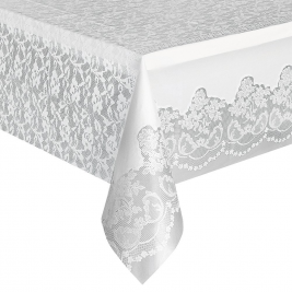 White Lace Plastic Tablecover 54