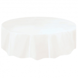 BRIGHT WHITE ROUND PLASTIC TABLECOVERS 84