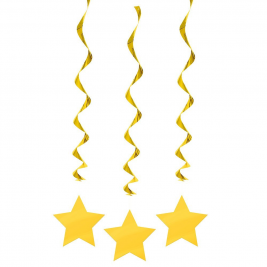 YELLOW SOLID COLOUR  STAR HANGING SWIRL DECORATIONS STARS