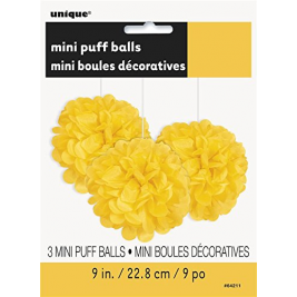 Pack of 3 Yellow Mini Puff Tissue Decorations